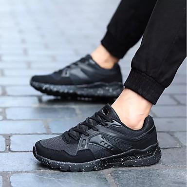 נעליים מיקרופייבר PU סינתטי אביב סתיו נוחות נעלי ספורט ל קזו'אל שחור כחול כהה שחור אדום