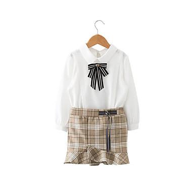 סט של בגדים כותנה פוליאסטר אביב קיץ שרוול ארוך יומי אחיד בנות יום יומי לבן