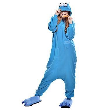 Kigurumi-pyjama Cookie Anime Monster Pyjamahaalarit Asu Polar Fleece Synteettinen kuitu Sininen Cosplay varten Animal Sleepwear Sarjakuva