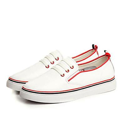 בגדי ריקוד נשים נעליים PU אביב / סתיו נוחות נעלי ספורט שטוח בוהן סגורה אדום / ירוק