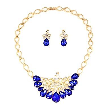 בגדי ריקוד נשים סט תכשיטים - ציפוי זהב קלסי, אופנתי לִכלוֹל סטי תכשיטי כלה כחול עבור חתונה / משרד קריירה
