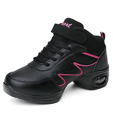 סניקרס לריקוד דמוי עור נעלי ספורט שחבור שטוח מותאם אישית נעלי ריקוד שחור