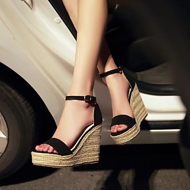 בגדי ריקוד נשים נעליים פליז קיץ נוחות סנדלים עקב טריז אבזם שחור / פוקסיה / ירוק
