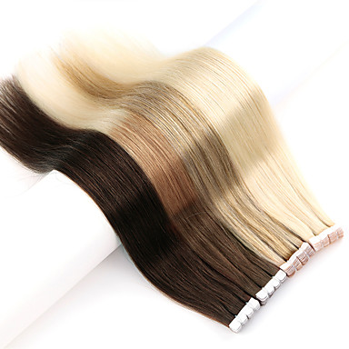 Neitsi Tape Inngang Hairextensions med menneskehår Rett Hairextensions med menneskehår Ekte hår Dame - Beige Blond / / Bleach Blond Ash Brown / Strawberry Blonde / Platinum Blond Golden Brown / Beige