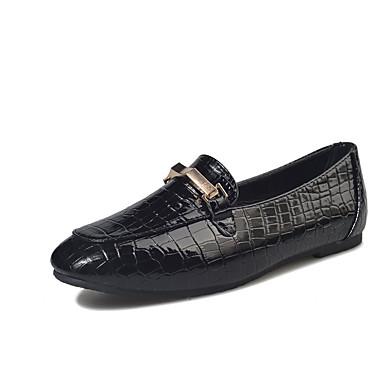 בגדי ריקוד נשים נעליים PU אביב נוחות נעליים ללא שרוכים עקב נמוך בוהן עגולה שחור / אפור