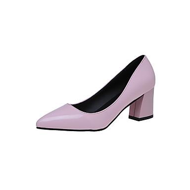 Mulheres Sapatos Couro Ecológico Courino Verão Sandálias Salto Robusto Dedo Aberto para Social Preto Fúcsia Prateado Vermelho Rosa claro