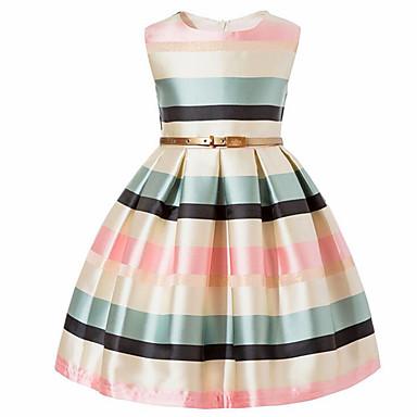 お買い得  女児 ドレス-子供 幼児 女の子 ヴィンテージ 甘い パーティー 祝日 ストライプ カラーブロック リボン ノースリーブ コットン レーヨン ドレス ブラック