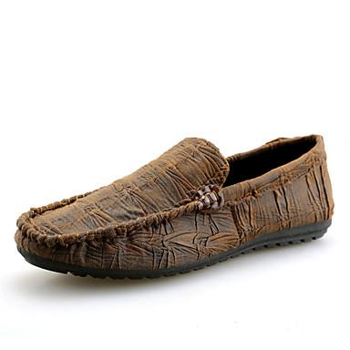 נעליים PU אביב קיץ נוחות נעליים ללא שרוכים ל קזו'אל בָּחוּץ שחור חום