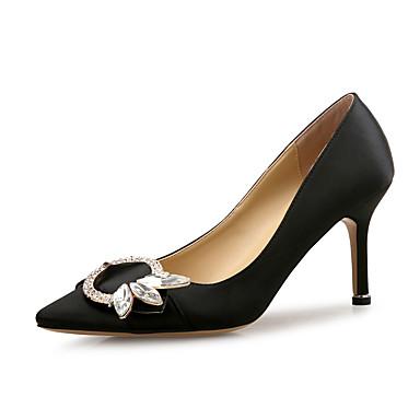 בגדי ריקוד נשים נעליים נצנצים / משי אביב / סתיו נוחות עקבים עקב סטילטו בוהן מחודדת ריינסטון שחור / כחול / Wine / מסיבה וערב / שמלה