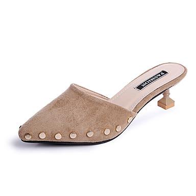 Mulheres Sapatos Couro Ecológico Verão Conforto Sandálias Caminhada Salto Baixo Dedo Aberto Preto / Vermelho / Amêndoa