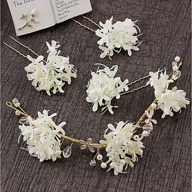 בד / סגסוגת רצועות / פרחים עם קריסטל / פרח 4pcs חתונה / מסיבה\אירוע ערב כיסוי ראש