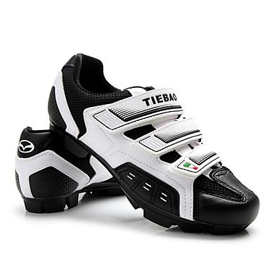 رخيصةأون أحذية ركوب الدراجة-Tiebao® للبالغين Mountain Bike Shoes النايلون والألياف الزجاجية،مخارج تدفق الهواء ، وعدم الانزلاق ألياف الكربون متنفس مكافح الانزلاق ركوب الدراجة أسود / أبيض رجالي أحذية الدراجة / شبكة قابلة للتنفس