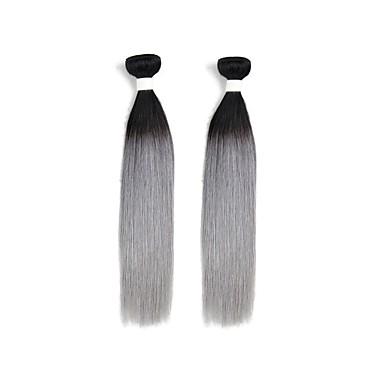 baratos Extensões de Cabelo Ombre-2 pacotes Cabelo Brasileiro Liso 10A Cabelo Natural Remy Âmbar Tramas de cabelo humano Extensões de cabelo humano / Reto