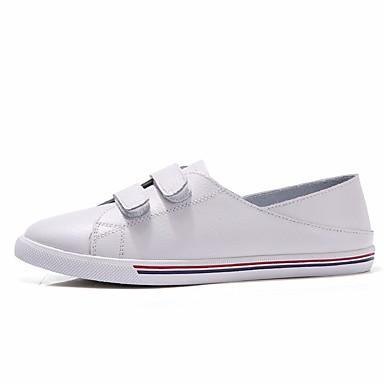 בגדי ריקוד נשים נעליים עור אביב / סתיו נוחות נעלי ספורט שטוח לבן / שחור