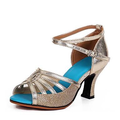 נעליים לטיניות Paillette סנדלים עקב סטילטו מותאם אישית נעלי ריקוד זהב / כסף