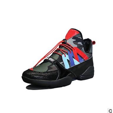 בגדי ריקוד נשים נעליים PU אביב / סתיו נוחות נעלי ספורט שטוח בוהן סגורה שחור / קשת