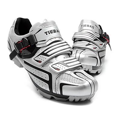 billige Sykkelsko-Tiebao® Mountain Bike-sko Nylon Vanntett, Pustende, Anti-Skli Sykling Svart / Sølv / Grønn Herre Sykkelsko / Demping / Ventilasjon / Syntetisk Mikrofiber PU / Demping / Ventilasjon