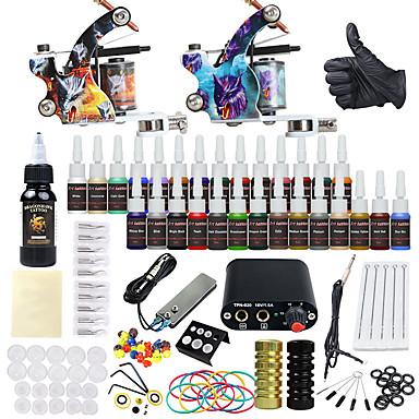 Tätowiermaschine Beginner Set 2 x-Legierung Tattoo Maschine für Futter und Schattierung Mini Stromversorgung 2 x Alu-Griff 20 Stück