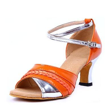 נעליים לטיניות דמוי עור סנדלים עקב עבה מותאם אישית נעלי ריקוד כתום
