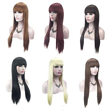 פאות סינתטיות ישר בלונד עם פוני שיער סינטטי שיער טבעי אדום / שחור / בלונד פאה בגדי ריקוד נשים ללא מכסה
