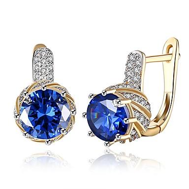 Χαμηλού Κόστους Μοδάτα Σκουλαρίκια-Γυναικεία Cubic Zirconia High Crystal Σκουλαρίκια με Κλιπ Κλασσικό Μοντέρνα Ζιρκονίτης Επιχρυσωμένο Σκουλαρίκια Κοσμήματα Μπλε / Χρυσό / Άσπρο Για Γάμου Καθημερινά