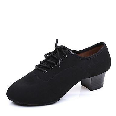 נעליים לטיניות קנבס עקבים עקב עבה מותאם אישית נעלי ריקוד שחור