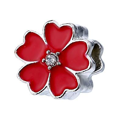 תכשיטים DIY 10 יח חרוזים סגסוגת ורוד פנינה אדום ירוק כחול בהיר כחול ים פרח חָרוּז 1.1 cm עשה זאת בעצמך שרשראות צמידים
