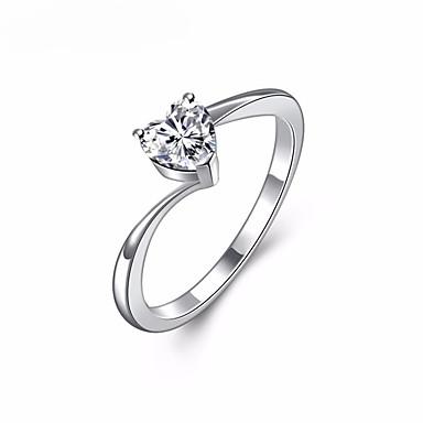 voordelige Heren Ring-Dames Diamant Kristal Kubieke Zirkonia nagebootst Ringen voor stelletjes Knokkelring обернуть кольцо Hart Liefde Zoet Elegant Modieuze ringen Sieraden Zilver Voor Bruiloft Maskerade Verlovingsfeest