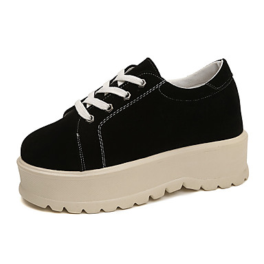 נעליים PU אביב נוחות נעלי ספורט שטוח בוהן עגולה שחור / חאקי