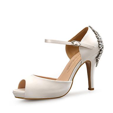 בגדי ריקוד נשים נעליים נצנצים / משי אביב / קיץ נוחות סנדלים עקב סטילטו בוהן מציצה ריינסטון שחור / בז' / כחול / מסיבה וערב / מסיבה וערב