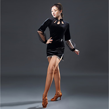 cheap Dancewear & Dance Shoes-Latin Dance Dresses Women's Performance Velvet Chiffon Split Joint Long Sleeves Natural Dress