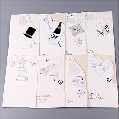 billige Bryllupsinvitasjoner-Side Fold Bryllupsinvitasjoner 8 stk - Invitasjonskort / Invitasjonssett Kunstnerisk Stil / Monogram / Brud & Brudgom Stil Mønsterpreget Papir Skerfer / Bånd / Blomst