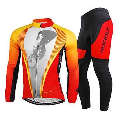 Nuckily Miesten Pitkähihainen Pyöräily jersey ja trikoot - Punainen Pyörä Vaatesetit, Nopea kuivuminen, Ultraviolettisäteilyn kestävä,