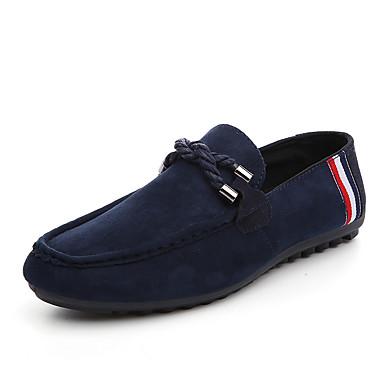 בגדי ריקוד גברים נעליים עור נובוק / PU אביב / סתיו נוחות / מוקסין נעליים ללא שרוכים שחור / אדום / כחול