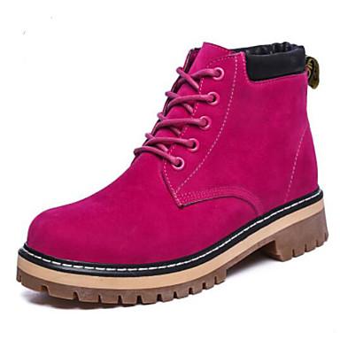 בגדי ריקוד נשים נעליים PU סתיו / חורף נוחות מגפיים עקב נמוך בוהן סגורה מגפונים\מגף קרסול שחור / אדום