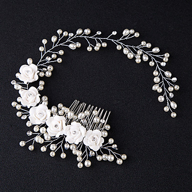 דמוי פנינה / שרף / אבן נוצצת עם ריינסטון / דמוי פנינה / פרח 1pc חתונה כיסוי ראש