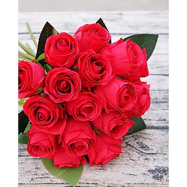 פרחים מלאכותיים 18 ענף פסטורלי סגנון ורדים פרחים לשולחן