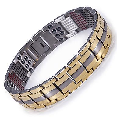 voordelige Dames Sieraden-Heren Armbanden met ketting en sluiting Hologramarmband Tweekleurig Titanium Staal Armband sieraden Goud / Zwart / Zilver Voor Causaal Dagelijks