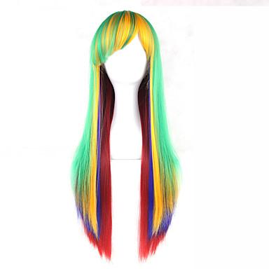 פאות סינתטיות ישר עם פוני שיער סינטטי חלק צד ירוק פאה 13  ס