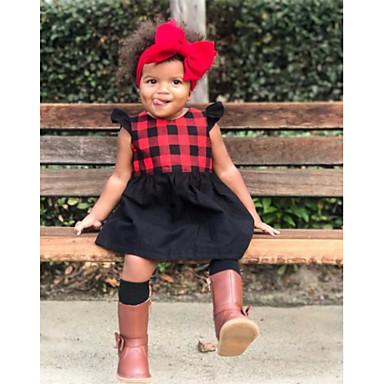 Χαμηλού Κόστους Ρούχα για Κορίτσια-Νήπιο Κοριτσίστικα Μπόχο Αργίες Εξόδου Μονόχρωμο Καρό Με Βολάν Κλασσικό στυλ Καρό μοτίβο Αμάνικο Νάιλον Φόρεμα Ρουμπίνι / Χαριτωμένο