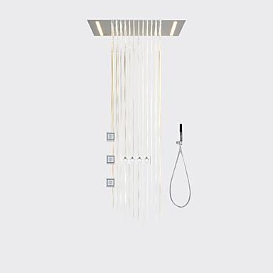 Moderna LED Sistema do Chuveiro Sidespray Chuveiro Tipo Chuva Chuveiro de Mão Incluído Luzes Válvula Cerâmica Três Handles cinco buracos
