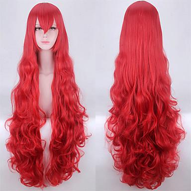 פאות סינתטיות גלי / Body Wave עם פוני שיער סינטטי שיער טבעי אדום פאה ללא מכסה
