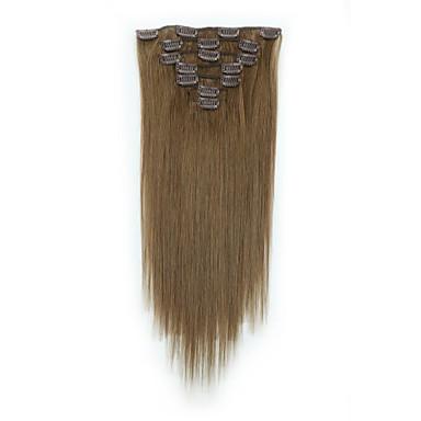 Con Clip Estensioni Dei Capelli Umani 7pcs - Confezione 70g - Pack Marrone Pastello - Strawberry Blonde Brown Medio - Bleach Blonde #06554299