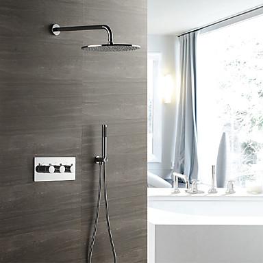 קיר עכשווי מותקן גשם מקלחת handshower כלל תרמוסטטי קרמיקה שסתום שלושה מטפל שלושה חורים כרום, ברז מקלחת