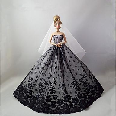 שמלות שמלה ל ברבי דול שחור שילוב כותנה/פשתן סטן\טול שמלה ל הילדה של בובת צעצוע