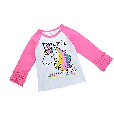חולצה כותנה אביב סתיו שרוול ארוך יומי בית הספר הדפס חיות טלאים בנות יום יומי פעיל ורוד מסמיק