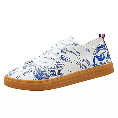 בגדי ריקוד גברים PU אביב / סתיו נוחות נעלי ספורט שחור לבן / לבן וכחול