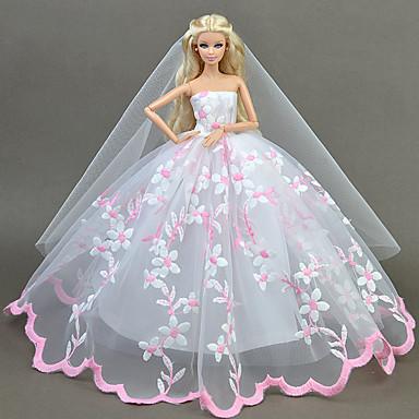 שמלות שמלה ל ברבי דול ורוד חיוור טול / תחרה / תערובת משי\ כותנה שמלה ל הילדה של בובת צעצוע