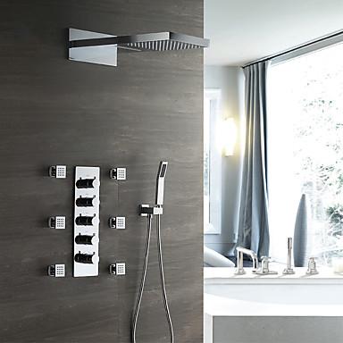 ברז למקלחת - עכשווי כרום מותקן על הקיר שסתום קרמי