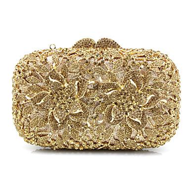 billige Vesker-Dame Perlearbeid / Appliqué / Krystalldetaljer glass / Metall Aftenveske Rhinestone Crystal Evening Bags Gull / Sølv / Regnbue